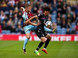Johann Gudmundsson of Burnley challenges Lee Chung-Yong of Crystal Palace - Mandatory by-line: Robbie Stephenson/JMP - 10/09/2017 - FOOTBALL - Turf Moor - Burnley, England - Burnley v Crystal Palace - Premier League