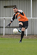 Hollands and Blair goalkeeper Dan Ellis clears the ball during the Southern Counties East match between AFC Croydon Athletic and Hollands & Blair at the Mayfield Stadium, Croydon, United Kingdom on 10 October 2015. Photo by Mark Davies.