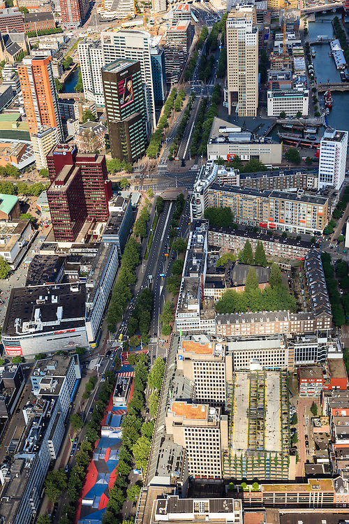 Nederland, Zuid-Holland, Rotterdam, 15-07-2012; .Centrum, kruising Westblaak en Coolssingel. .Main streets in Rotterdam center in a postwar residential area in the center of Rotterdam, constructed after the 1940 bombings until now..luchtfoto (toeslag), aerial photo (additional fee required).foto/photo Siebe Swart