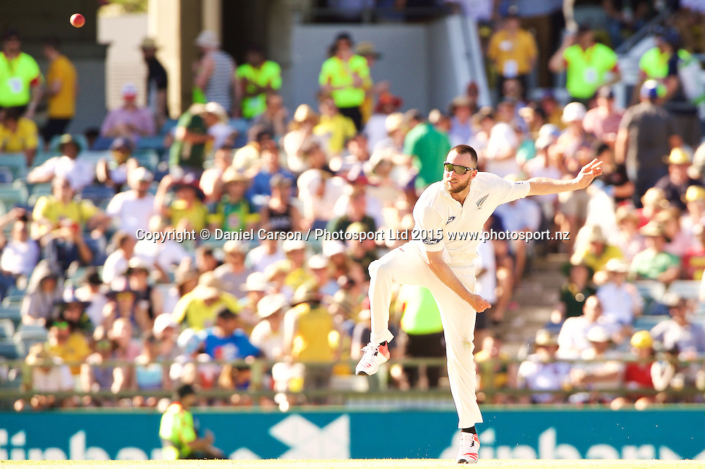 Mark Craig of the New Zealand Black Caps bowls during Day 1 on the 13th of November 2015. The New Zealand Black Caps tour of Australia, 2nd test at the WACA ground in Perth, 13 - 17th of November 2015.   Photo: Daniel Carson / www.photosport.nz