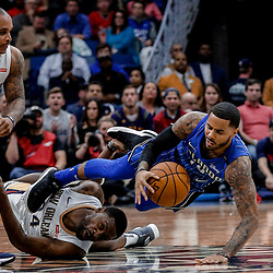 Oct 30, 2017; New Orleans, LA, USA; Orlando Magic guard D.J. Augustin (14) and New Orleans Pelicans guard Tony Allen (24) collide while pursuing a loose ball during the second quarter of a game at the Smoothie King Center. Mandatory Credit: Derick E. Hingle-USA TODAY Sports