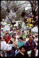 Earth Day marchers carry huge papier-mache zebra head in parade at Forest Park in St. Louis. Missouri
