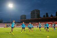 NOVI SAD - 17-08-2016, Vojvodina - AZ, Karadjordje Stadion, training, persconferentie, AZ speler Markus Henriksen, AZ speler Joris van Overeem, AZ speler Mattias Johansson
