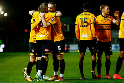 Padraig Amond of Newport County celebrates scoring his sides first goal of the game with Matthew Dolan of Newport County and Fraser Franks of Newport County - Mandatory by-line: Ryan Hiscott/JMP - 11/12/2018 - FOOTBALL - Rodney Parade - Newport, Wales - Newport County v Wrexham - Emirates FA Cup second round proper
