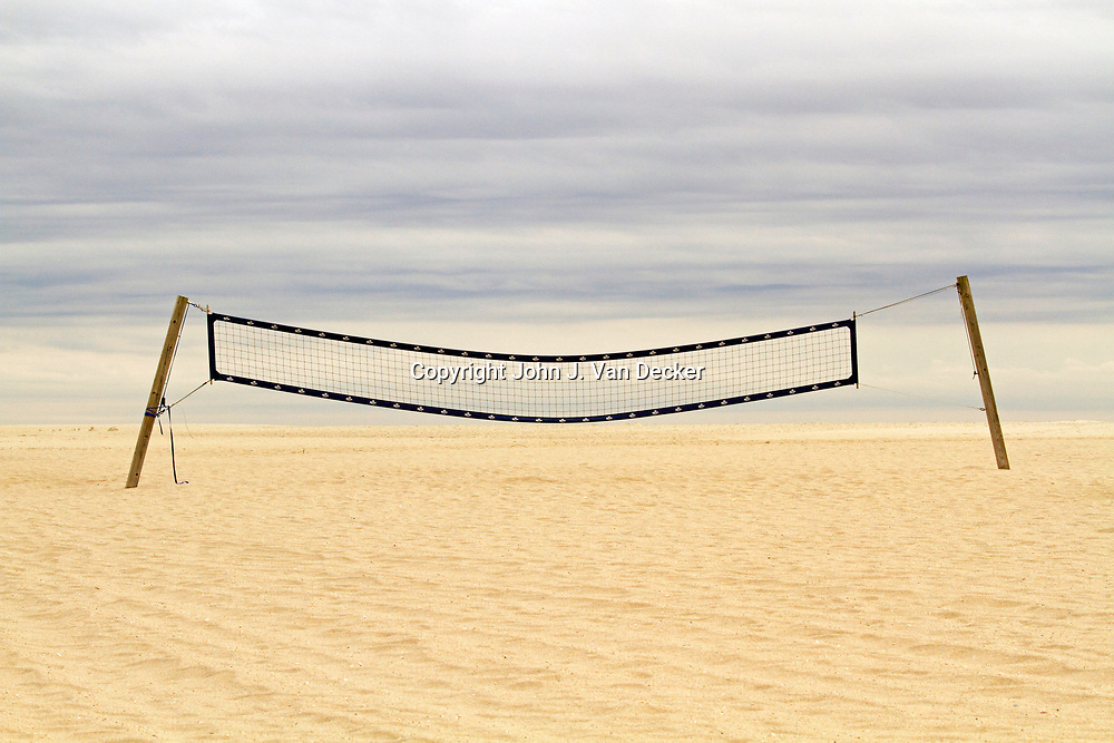 A beach volley ball net on the beach at Cape May, New Jersey, USA