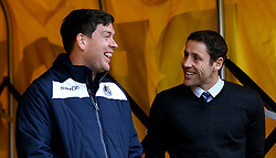 Bristol Rovers manager Darrell Clarke and Port Vale manager Michael Brown share a joke as they chat ahead of the Sky Bet League One fixture between their sides - Mandatory by-line: Robbie Stephenson/JMP - 18/02/2017 - FOOTBALL - Vale Park - Stoke-on-Trent, England - Port Vale v Bristol Rovers - Sky Bet League One