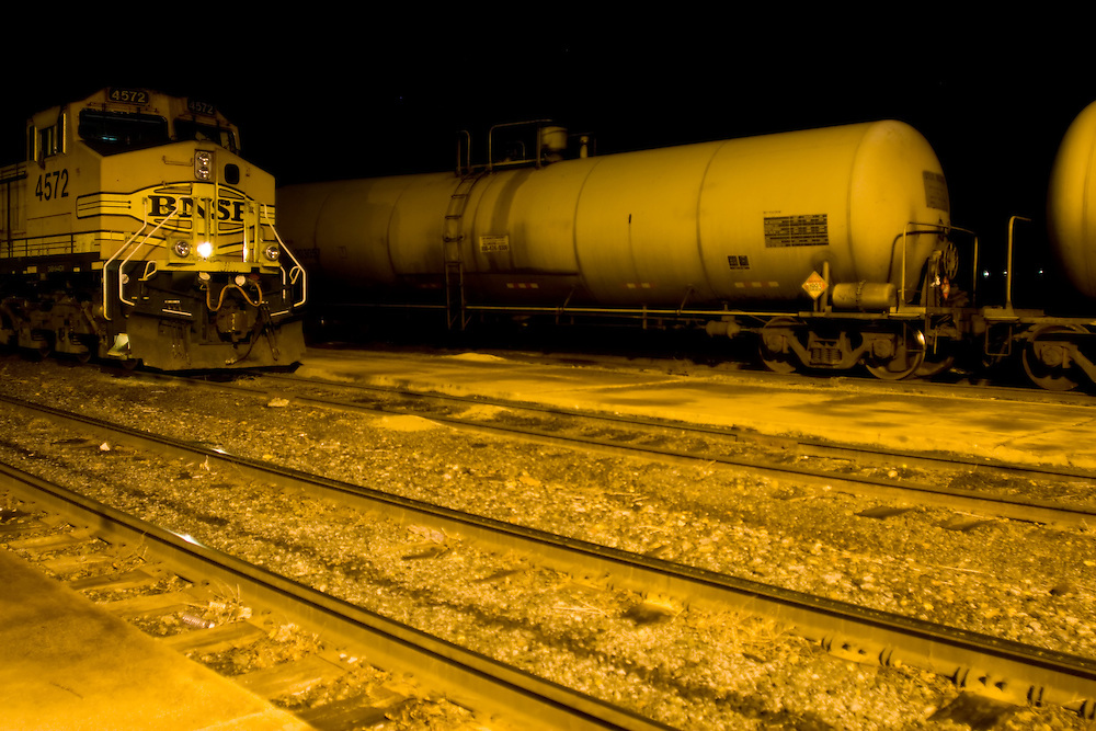 After dark all is quiet at the small BNSF freight yard in Grand Junction, CO.