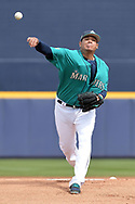 PEORIA, AZ - MARCH 05:  Felix Hernandez #34 of the Seattle Mariners delivers a pitch in the spring training game against the Oakland Athletics at Peoria Stadium on March 5, 2017 in Peoria, Arizona.  (Photo by Jennifer Stewart/Getty Images)