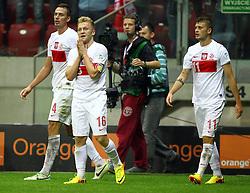 06.09.2013, Pepsi Arena, Warschau, POL, FIFA WM Qualifikation, Polen vs Montenegro, Rueckspiel, im Bild LUKASZ SZUKALA POLSKA JAKUB KUBA BLASZCZYKOWSKI POLSKA MATEUSZ KLICH POLSKA ZDZIWIENIE PO NIEUZNANEJ BRAMCE // during the FIFA World Cup Qualifier second leg Match between Poland and Montenegro at the Pepsi Arena in Warsaw, Poland on 2013/09/06. EXPA Pictures © 2013, PhotoCredit: EXPA/ Newspix/ Michael Nowak<br /> <br /> ***** ATTENTION - for AUT, SLO, CRO, SRB, BIH, TUR, SUI and SWE only *****