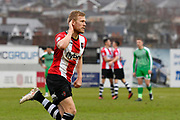 Goal - Jayden Stockley (11) of Exeter City celebrates scoring a goal to make the score 3-1 during the EFL Sky Bet League 2 match between Exeter City and Swindon Town at St James' Park, Exeter, England on 24 March 2018. Picture by Graham Hunt.