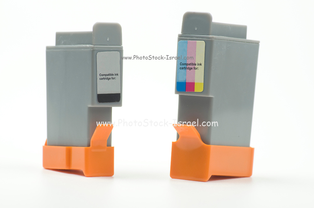 Cutout of a Generic black and colour ink cartridges on white background