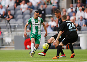 STOCKHOLM, SWEDEN - MAY 16: Nikola Djurdjic of Hammarby and Markus Rosenberg of Malmo FF competes for the ball during the Allsvenskan match between Hammarby IF and Malmo FF at Tele2 Arena on May 16, 2018 in Stockholm, Sweden. Photo by Nils Petter Nilsson/Ombrello ***BETALBILD***