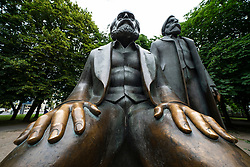 Statue of Karl Marx and Engels at Alexanderplatz in Mitte, Berlin, Germany