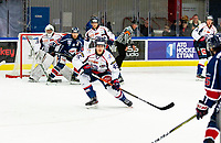 2020-01-22 | Kallinge, Sweden: Halmstad Hammers (45) Jacob Sundberg have focus on the puck during the game between Krif hockey and Halmstad Hammers at Soft Center Arena (Photo by: Jonathan Persson | Swe Press Photo)<br /> <br /> Keywords: kallinge, Ishockey, Icehockey, hockeyettan, allettan södra, soft center arena, krif hockey, halmstad hammers (Match code: krhh200122)