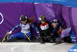 Great Britain's Charlotte Gilmartin crashes with Hungary's Petra Jaszapati and Olympic Athlete from Russia Emina Malagich in the Women's 500m Short Track heat eight during day one of the PyeongChang 2018 Winter Olympic Games in South Korea.