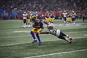 Los Angeles Rams wide receiver Robert Woods (17) in action during the NFL Super Bowl 53 football game against the New England Patriots on Sunday, Feb. 3, 2019, in Atlanta. The Patriots defeated the Rams 13-3. (©Paul Anthony Spinelli)