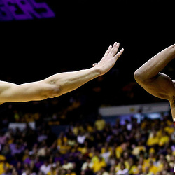 Jan 30, 2016; Baton Rouge, LA, USA; Oklahoma Sooners guard Buddy Hield (24) shoots over LSU Tigers forward Ben Simmons (25) during the second half of a game at the Pete Maravich Assembly Center. Oklahoma defeated LSU 77-75. Mandatory Credit: Derick E. Hingle-USA TODAY Sports