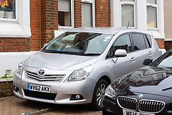 A silver Toyota Verso, registered for private hire and carrying a Somali flag sticker is said by one of the neighbours to belong to the man whose flat in the Victorian house converted to 12 flats at 65 Craven Park Road, Harlesden, West London, contained two Improvised Explosive Devices, discovered by workers undertaking a refurbishment. Harlesden, London, November 22 2018.