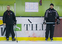 New head coach Randy William Edmonds (CAN) and his assistant Bojan Zajc at ice hockey practice of HDD Tilia Olimpija,  on October 16, 2008 in Arena Tivoli, Ljubljana, Slovenia.  (Photo by Vid Ponikvar / Sportal Images)