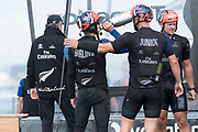 The Great Sound, Bermuda 12th June 2017. Emirates Team New Zealand helmsman Peter Burling takes a drink of Moet and Chandon champagne after winning the Louis Vuitton America's Cup Challenger series.
