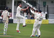 Sussex bowler Steve Magoffin celebrates after dismissing  Middlesex bowler James Franklin for a golden duck during the LV County Championship Div 1 match between Sussex County Cricket Club and Middlesex County Cricket Club at the BrightonandHoveJobs.com County Ground, Hove, United Kingdom on 11 May 2015. Photo by Bennett Dean.