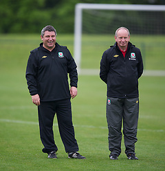 CARDIFF, WALES - Saturday, May 19, 2012: Wales' coach Osian Roberts and Lennie Lawrence during an FAW Coaching course at the Glamorgan Sports Park. (Pic by David Rawcliffe/Propaganda)