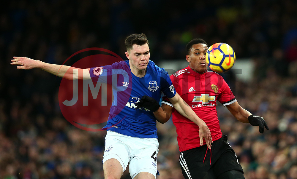 Michael Keane of Everton battles with Anthony Martial of Manchester United - Mandatory by-line: Robbie Stephenson/JMP - 01/01/2018 - FOOTBALL - Goodison Park - Liverpool, England - Everton v Manchester United - Premier League