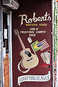 Sign for Roberts Western World honky-tonk on lower Broadway in Nashville, TN.