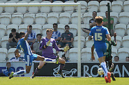 Nathaniel Mendez-Laing of Rochdale scores his sides first goal to make the scoreline 1-0 during the Sky Bet League 1 match between Colchester United and Rochdale at the Weston Homes Community Stadium, Colchester<br /> Picture by Richard Blaxall/Focus Images Ltd +44 7853 364624<br /> 08/05/2016