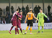 Arbroath's Bobby Linn and Greg Rutherford celebrate their side's second goal - Arbroath v Annan Athletic, Ladbrokes SPFL League two at Gayfield<br /> <br />  - &copy; David Young - www.davidyoungphoto.co.uk - email: davidyoungphoto@gmail.com