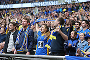 AFC Wimbledon fans singing during the Sky Bet League 2 play off final match between AFC Wimbledon and Plymouth Argyle at Wembley Stadium, London, England on 30 May 2016.
