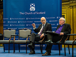 Pictured: John Swinney and John Chambers, moderator of the Church of Scotland<br /> <br /> The People Politics Hustings,  organised by the Church of Scotland, allowed voters to question SNP deputy John Swinney, Scottish Labour leader Kezia Dugdale, Scottish Liberal Democrat leader Willie Rennie, Scottish Greens co-convener Patrick Harvie and former Scottish Conservatives leader Annabel Goldie ahead of the Scottish Elections. Before the politicians had a chance to speak they had a chance to listen to five speakers with different viewpoints on how Scotland has supported them in the past and how it should support them in the future..<br /> Ger Harley | EEm 4 April 2016