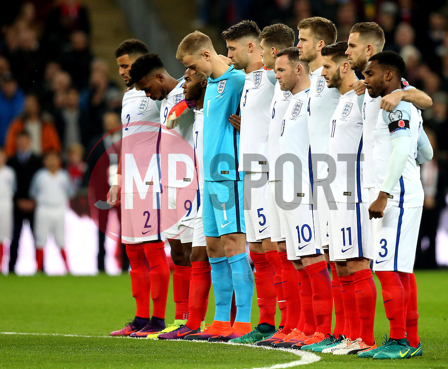 The England team observe a 2 minute silence for remembrance day - Mandatory by-line: Robbie Stephenson/JMP - 11/11/2016 - FOOTBALL - Wembley Stadium - London, United Kingdom - England v Scotland - European World Cup Qualifiers