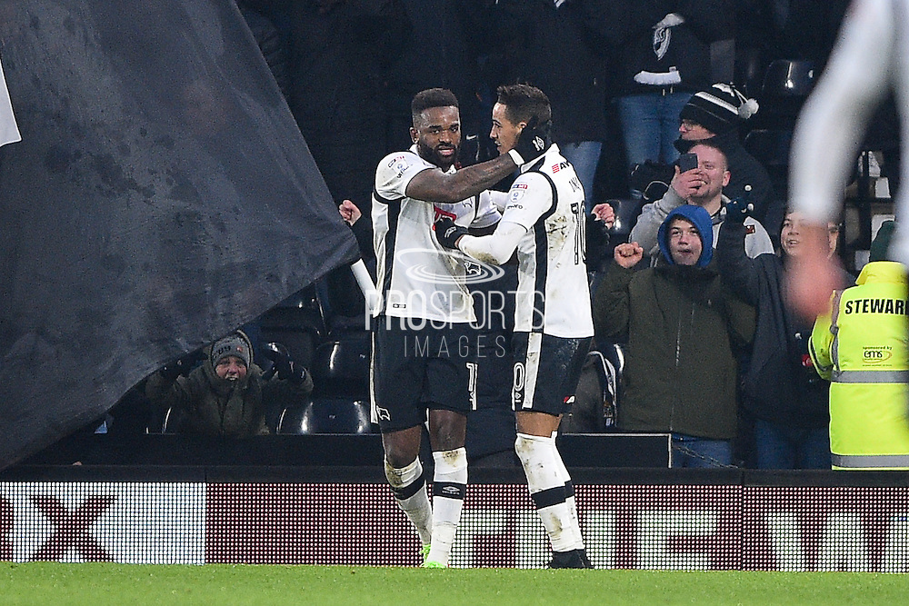Derby County forward Darren Bent (11) celebrates with Derby County midfielder Tom Ince (10) after scoring a goal to make it 3-3 during the EFL Sky Bet Championship match between Derby County and Bristol City at the Pride Park, Derby, England on 11 February 2017. Photo by Jon Hobley.