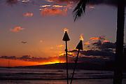 Tiki torches, Kaanapali, Maui<br />