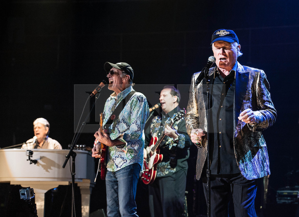 © Licensed to London News Pictures. 27/09/2012. London, UK.  Brian Wilson (Left), Dave Marks (second from left) and Mike Love (right) of The Beach Boys perform live at The Royal Albert Hall, London, as part of their 50th Anniversary Tour.  It is reported that this is the final tour that Love, Wilson and Jardine will play together as The Beach Boys - with Love planning on continuing the band with different band members. Photo credit : Richard Isaac/LNP