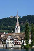 Blick auf Stein am Rhein mit Burg Hohenklingen, Bodensee, Thurgau, Schweiz
