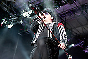 Shinedown performing at the Carnival of Madness at the Time Warner Cable Amphitheater in Cleveland, OH on August 9, 2010