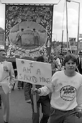Sacked miner and Prince of Wales banner, 1985 Yorkshire Miner's Gala. Rotherham.