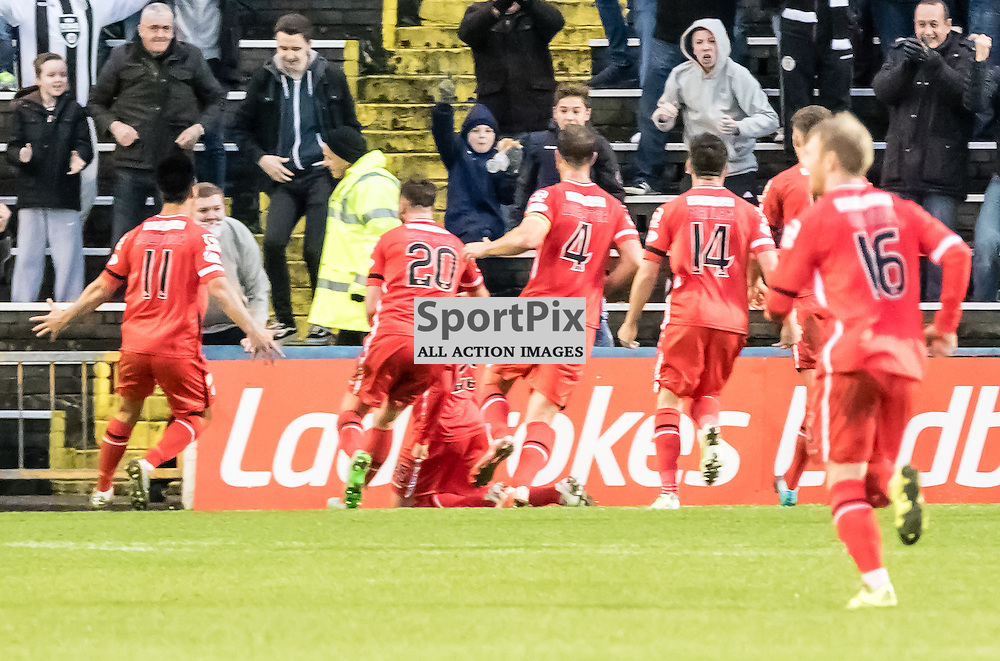 St. Mirren's Lawrence Shanklandis mobbed by his team mates after scoring the opening goal during the Greenock Morton V St. Mirren Scottish Championship game, 2nd January 2016; (c) BERNIE CLARK | SportPix.org.uk