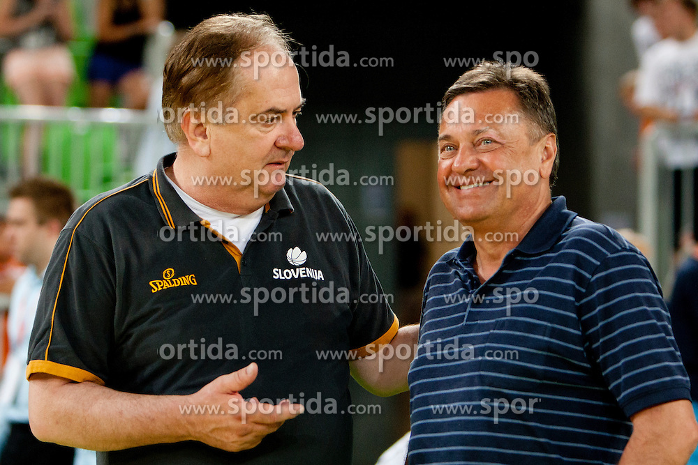 Bozidar Maljkovic, head coach of Slovenia and Zoran Jankovic, mayor of Ljubljana during friendly basketball match between National teams of Slovenia and Serbia of Adecco Ex-Yu Cup 2012 as part of exhibition games 2012, on August 5, 2012, in Arena Stozice, Ljubljana, Slovenia. (Photo by Urban Urbanc / Sportida)