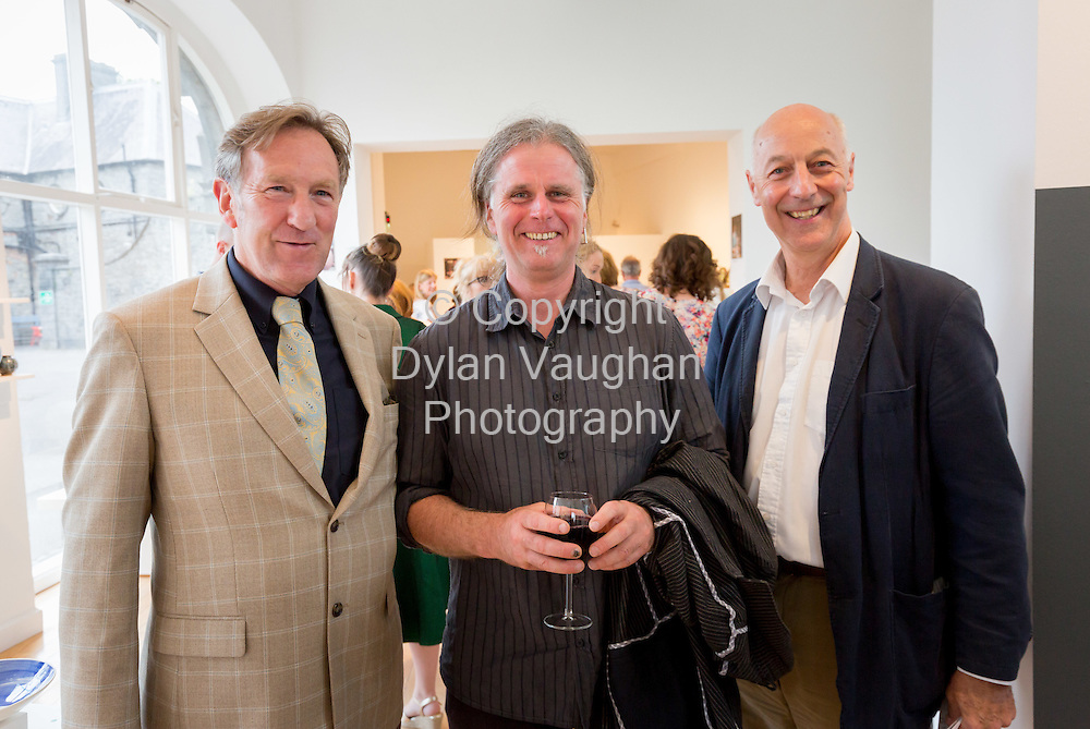 Repro Free No Charge for use<br /> <br /> 15-7-16<br /> <br /> John Tynan, Head of Education, Training and Development, DCCoI; Klaus Hartmann, ceramics tutor and Gus Mabelson, Ceramics Skills and Design Course Manager pictured at the opening of Cr&eacute;, an exhibition of work by the 2016 graduates of the Design &amp; Crafts Council of Ireland&rsquo;s Ceramics Skills &amp; Design Course. <br /> <br /> The exhibition was officially opened by Dr. Audrey Whitty, Keeper of the Art and Industrial Division, National Museum of Ireland &ndash; Decorative Arts &amp; History. <br /> <br /> Cr&eacute; is open at the National Craft <br /> Gallery, Kilkenny until 1st August 2016.<br /> <br /> Picture Dylan Vaughan