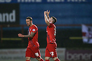York City forward, on loan from Middlesbrough, Bradley Fewster  scores for York City  during the Sky Bet League 2 match between York City and Exeter City at Bootham Crescent, York, England on 16 February 2016. Photo by Simon Davies.