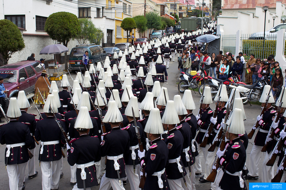 "Bolivian  military personal participate in a military parade to honor national hero Eduardo Avaroa as part of ""Day of the Sea"" celebrations. Bolivia lost its coastline 131 years ago to Chile in the ""Guerra del Pacifico"", or War of the Pacific.  Sopocachi, La Paz, Bolivia,  March 23, 2010."