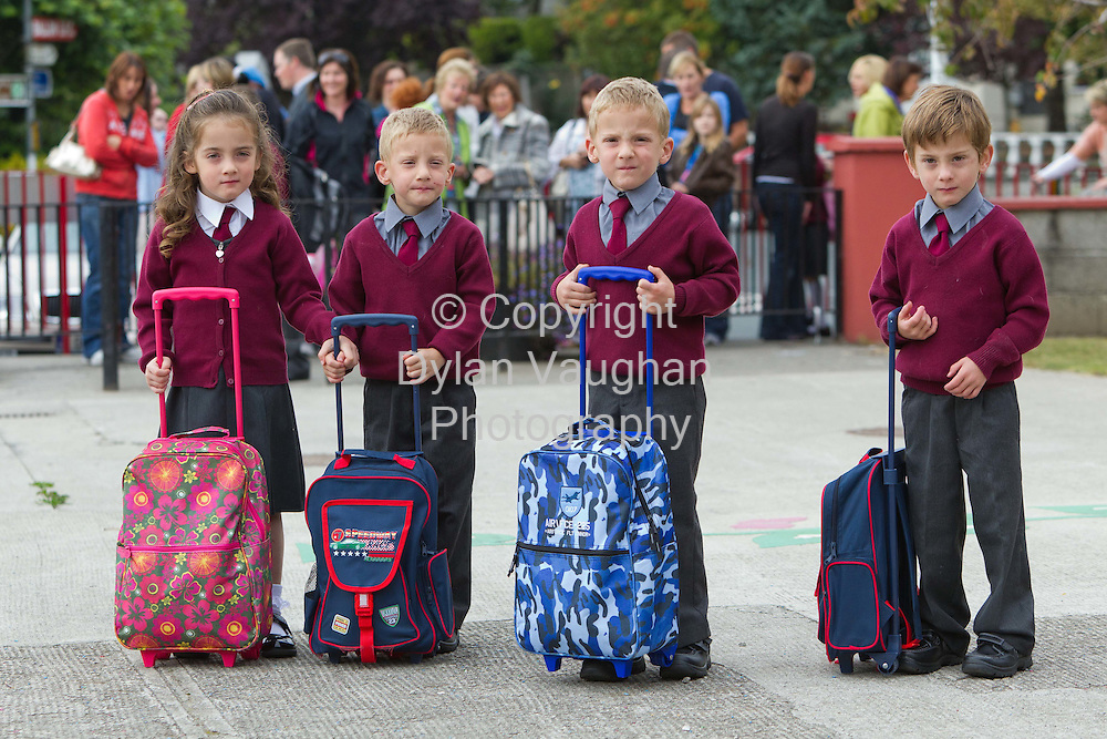 31/8/2011.Carlow Quads Lillie, Jamie, Johnny and Robbie Maher aged 4 pictured at their first day at School in Ballon County Carlow...Picture Dylan Vaughan