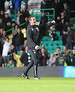 'Ronnie Roar' from Celtic boss Ronnie Delia -  Celtic v Dundee - SPFL Premiership at Celtic Park<br /> <br /> <br />  - © David Young - www.davidyoungphoto.co.uk - email: davidyoungphoto@gmail.com