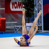 PADUA, ITALY - NOVEMBER 12 2016: Martina Brambilla of San Giorgio Desio performs with rope at the italian national rhythmic gymnastic championship. Her score in the apparatus is 16,300. Her team's score is 103,450 and ended up in first position.<br /> #SerieAdiritmica<br /> #ginnasticaritmica #rhythmicgymnastic #gymnast #sport #sportphotography