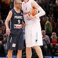 15 July 2012: Tony Parker of Team France is congratulated by Pau Gasol of Spain during a pre-Olympic exhibition game won 75-70 by Spain over France, at the Palais Omnisports de Paris Bercy, in Paris, France.