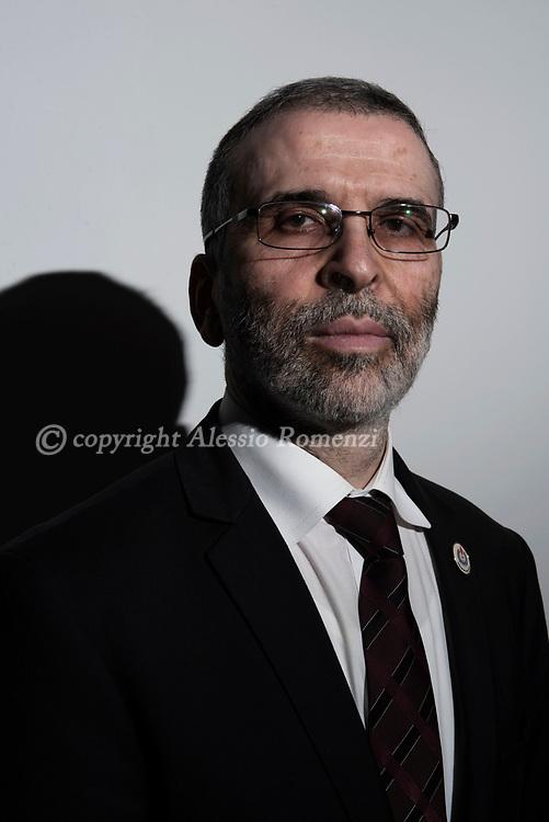 Libya, Tripoli: NOC (National Oil Company) chairman of the board of directors Mustafa Sanalla poses for a portrait outside his office in Tripoli. Alessio Romenzi