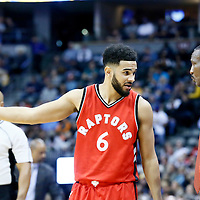 18 November 2016: Toronto Raptors guard Cory Joseph (6) talks to Toronto Raptors head coach Dwane Casey during the Toronto Raptors 113-111 OT victory over the Denver Nuggets, at the Pepsi Center, Denver, Colorado, USA.